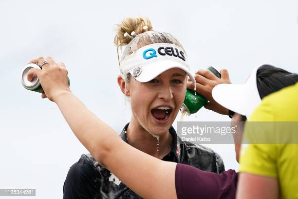 Nelly Korda of the United States celebrates during day four of the 2019 ISPS Handa Women's Australian Open at The Grange GC on February 17 2019 in...