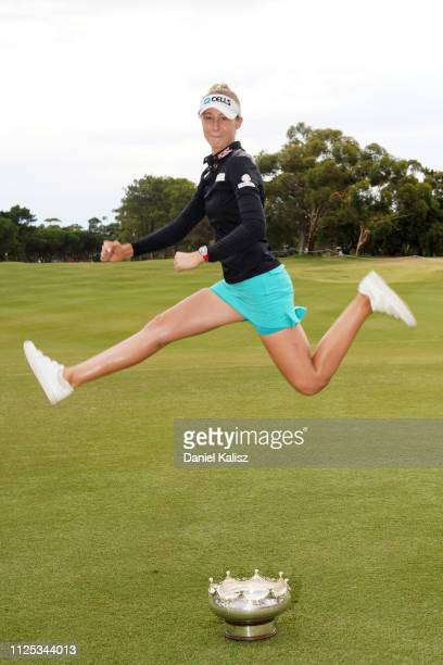 Nelly Korda of the United States celebrates with the trophy during day four of the 2019 ISPS Handa Women's Australian Open at The Grange GC on...