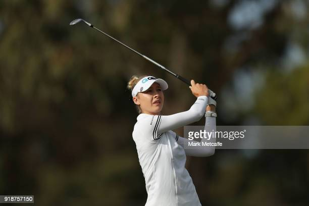Nelly Korda of the United States hits her approach shot on the 13th hole during day two of the ISPS Handa Australian Women's Open at Kooyonga Golf...