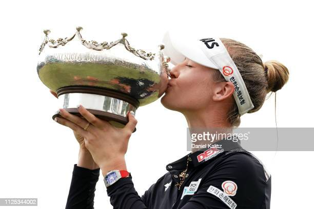 Nelly Korda of the United States kisses the trophy during day four of the 2019 ISPS Handa Women's Australian Open at The Grange GC on February 17...