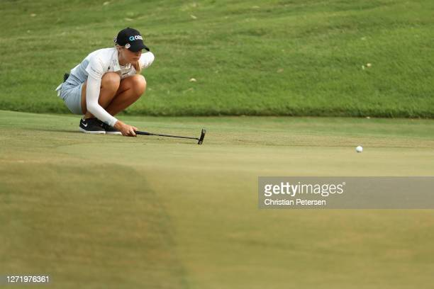 Nelly Korda of the United States lines up a putt on the 17th green during the second round of the ANA Inspiration on the Dinah Shore course at...