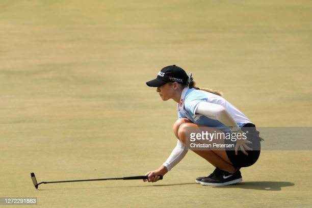 Nelly Korda of the United States lines up a putt on the sixth green during the final round of the ANA Inspiration on the Dinah Shore course at...