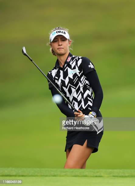 Nelly Korda of The United States of America chips onto the 15th green during Day Four of the AIG Women's British Open at Woburn Golf Club on August...
