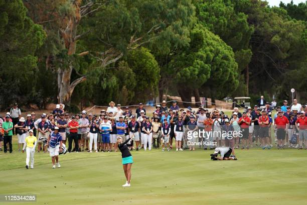 Nelly Korda of the United States plays a shot during day four of the 2019 ISPS Handa Women's Australian Open at The Grange GC on February 17 2019 in...
