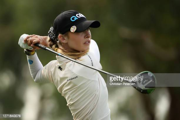 Nelly Korda of the United States plays a tee shot on the 13th hole during the first round of the ANA Inspiration on the Dinah Shore course at Mission...