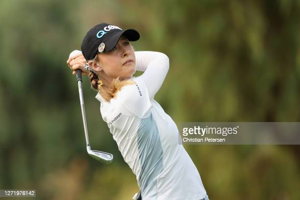 Nelly Korda of the United States plays a tee shot on the 17th hole during the second round of the ANA Inspiration on the Dinah Shore course at...
