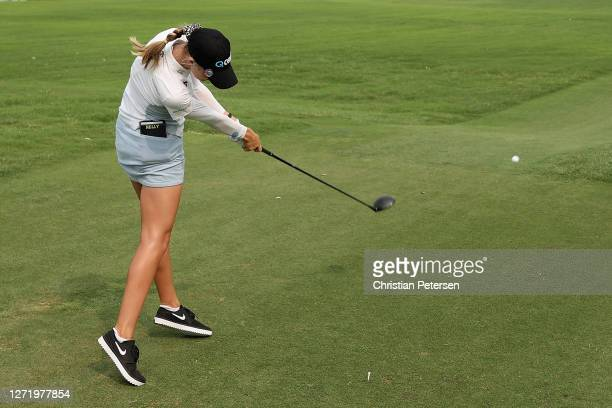 Nelly Korda of the United States plays a tee shot on the 18th hole during the second round of the ANA Inspiration on the Dinah Shore course at...