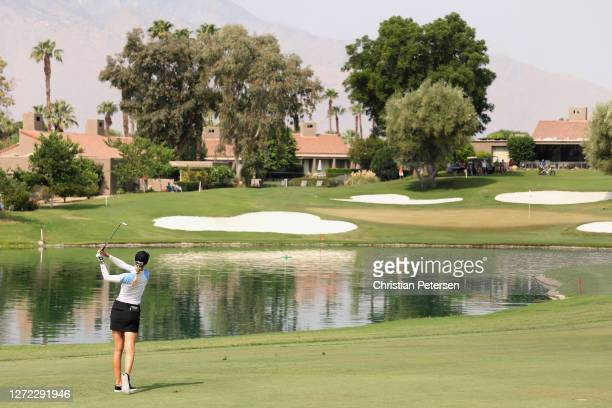 Nelly Korda of the United States plays her second shot on the sixth hole during the final round of the ANA Inspiration on the Dinah Shore course at...