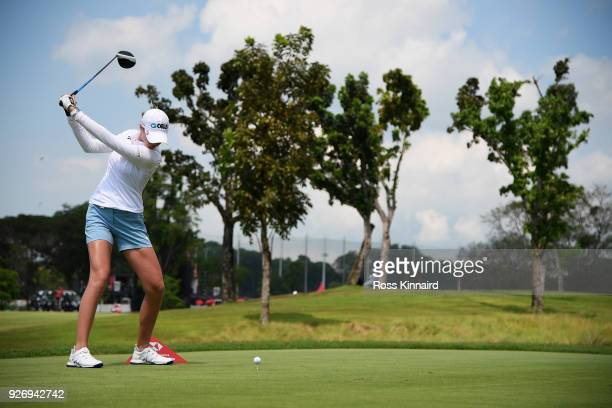 Nelly Korda of the United States plays her shot from the eighth tee during the final round of the HSBC Women's World Championship at Sentosa Golf...