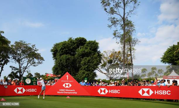 Nelly Korda of the United States plays her shot from the first tee during the final round of the HSBC Women's World Championship at Sentosa Golf Club...