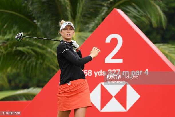 Nelly Korda of the United States plays her shot from the second tee during the first round of the HSBC Women's World Championship at Sentosa Golf...