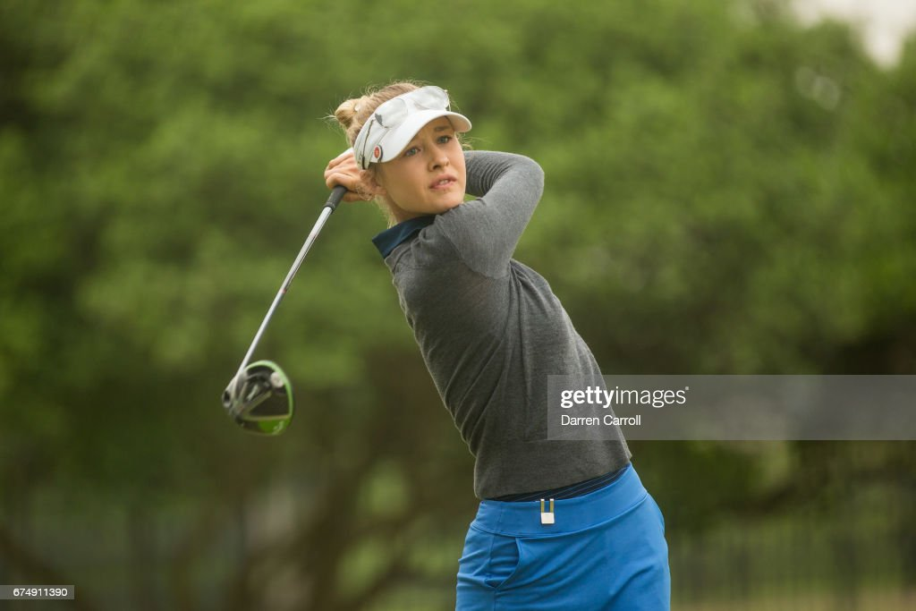 Nelly Korda of the United States plays her tee shot at the second hole during the third round of the Volunteers of America North Texas Shootout at Las Colinas Country Club on April 29, 2017 in Irving, Texas.