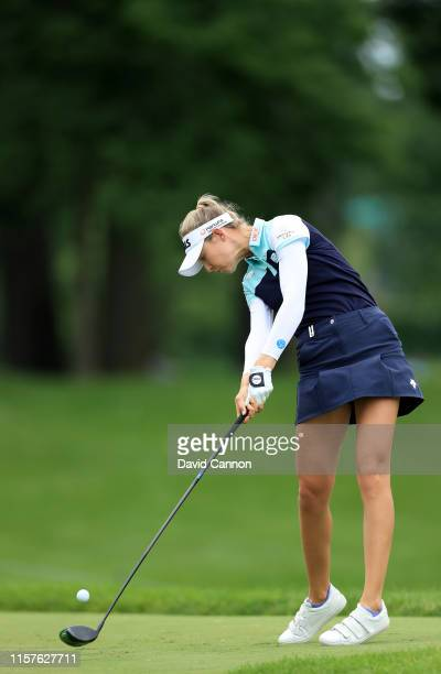 Nelly Korda of the United States plays her tee shot on the par 5, seventh hole during the third round of the 2019 Women's PGA Championship at...