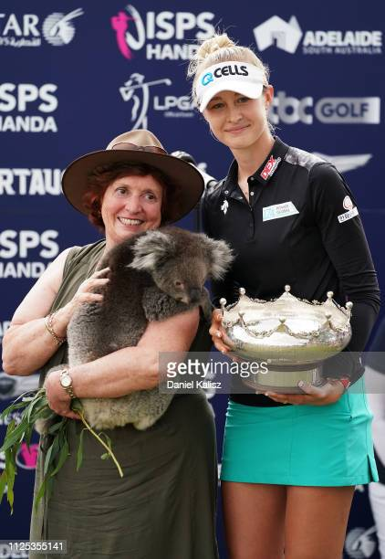 Nelly Korda of the United States poses with a koala during day four of the 2019 ISPS Handa Women's Australian Open at The Grange GC on February 17...