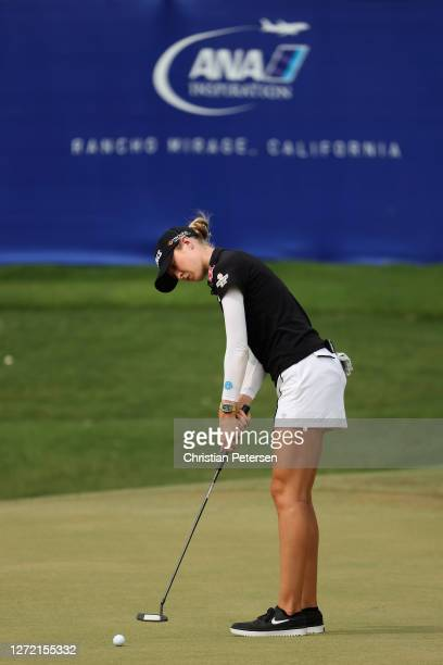 Nelly Korda of the United States putts on the 17th green during the third round of the ANA Inspiration on the Dinah Shore course at Mission Hills...