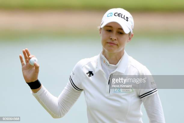 Nelly Korda of the United States reacts on the 15th green during round three of the HSBC Women's World Championship at Sentosa Golf Club on March 3...