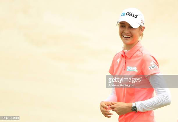 Nelly Korda of the United States reacts to her birdie on the 18th green during round two of the HSBC Women's World Championship at Sentosa Golf Club...