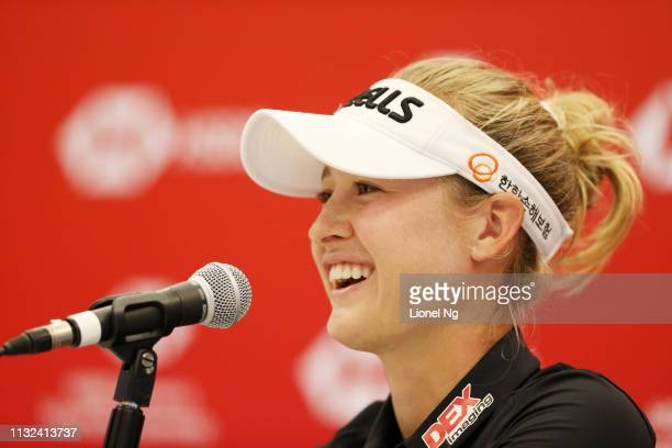 Nelly Korda of the United States speaks to the media during a press conference prior to the HSBC Women's World Championship at Sentosa Golf Club on...