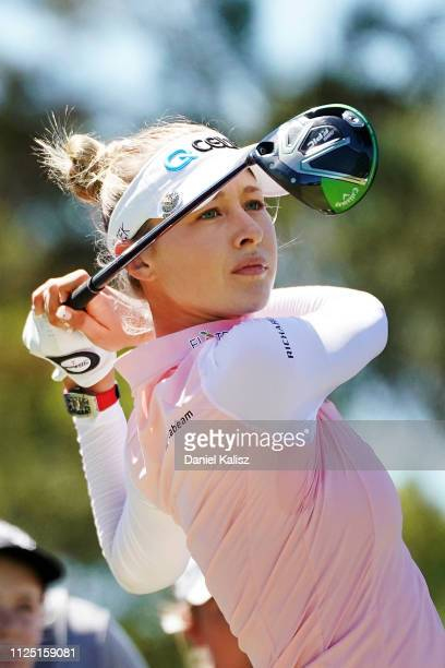 Nelly Korda of the United States tees off during day three of the 2019 ISPS Handa Women's Australian Open at The Grange GC on February 16 2019 in...