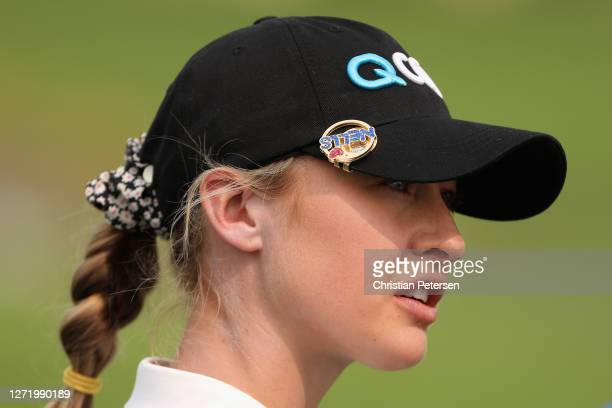 Nelly Korda of the United States waits to tee off on the 18th hole during the second round of the ANA Inspiration on the Dinah Shore course at...