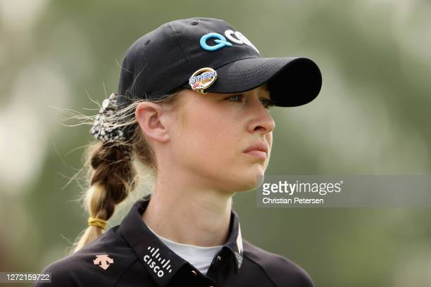 Nelly Korda of the United States waits to tee off on the fifth hole during the third round of the ANA Inspiration on the Dinah Shore course at...