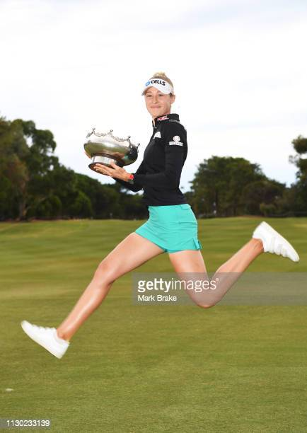Nelly Korda of the USA celebrates with the trophy during day four of the 2019 ISPS Handa Women's Australian Open at The Grange GC on February 17 2019...