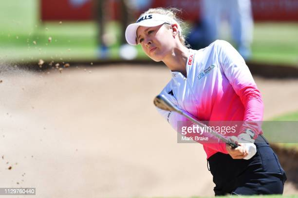 Nelly Korda of the USA hits out of a bunker on the 9th during day two of the 2019 ISPS Handa Women's Australian Open The Grange GC on February 15...