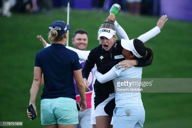 Nelly Korda of United States of America celebrates after she wins during the Taiwan Swinging Skirts LPGA Presented By CTBC at Miramar Golf Country...