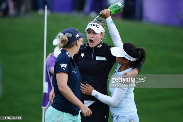Nelly Korda of United States of America celebrates after she wins the Taiwan Swinging Skirts LPGA Presented By CTBC at Miramar Golf Country Club on...