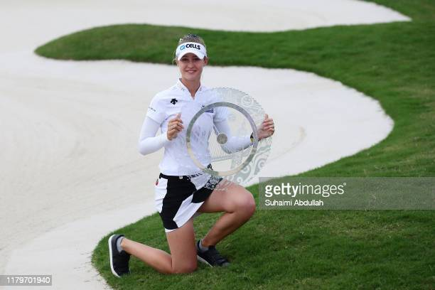 Nelly Korda of United States of America poses for a photo with the trophy after winning the Taiwan Swinging Skirts LPGA Presented By CTBC at Miramar...