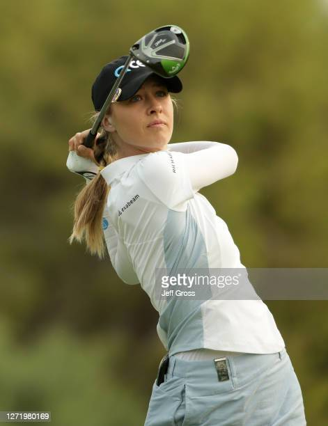 Nelly Korda plays a tee shot on the 11th hole during the second round of the ANA Inspiration at the Dinah Shore course at Mission Hills Country Club...