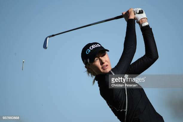 Nelly Korda plays a tee shot on the 14th hole during the first round of the Bank Of Hope Founders Cup at Wildfire Golf Club on March 15 2018 in...