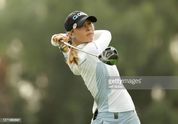 Nelly Korda plays a tee shot on the 16th hole during the second round of the ANA Inspiration at the Dinah Shore course at Mission Hills Country Club...