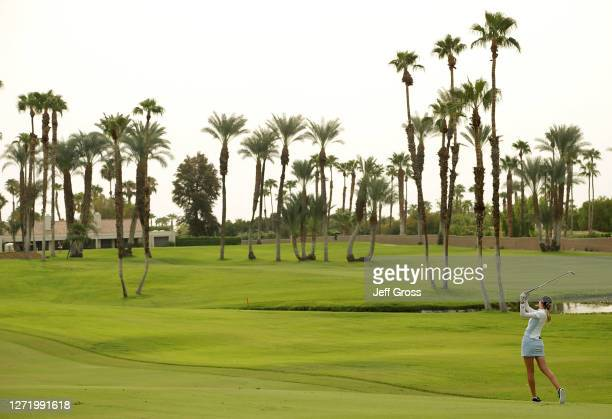Nelly Korda plays her second shot from the 13th fairway during the second round of the ANA Inspiration at the Dinah Shore course at Mission Hills...