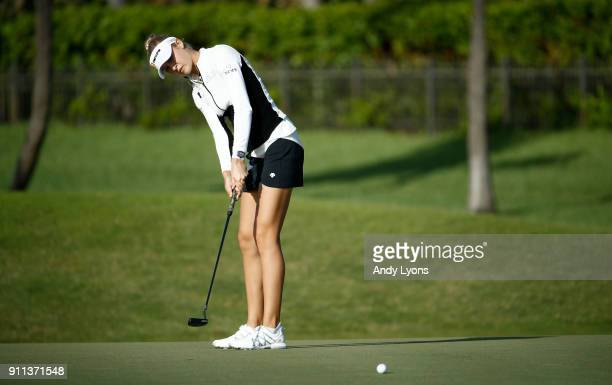 Nelly Korda putts for birdie on the 7th hole during the second round of the Pure Silk Bahamas LPGA Classic at the Ocean Club Golf Course on January...