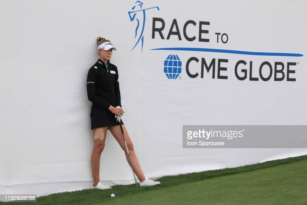Nelly Korda waits for a ruling on her shot on the 18th hole during the third round of the Bank of Hope LPGA Golf Tournament at the Wildfire Golf Club...