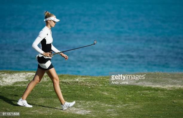 Nelly Korda walks to the green on the 8th hole during the second round of the Pure Silk Bahamas LPGA Classic at the Ocean Club Golf Course on January...