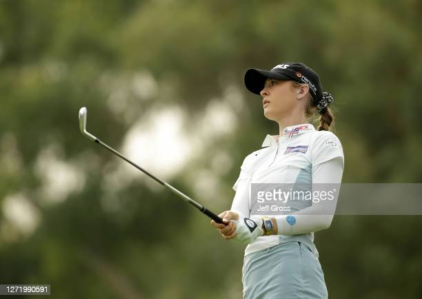 Nelly Korda watches her tee shot on the 17th hole during the second round of the ANA Inspiration at the Dinah Shore course at Mission Hills Country...