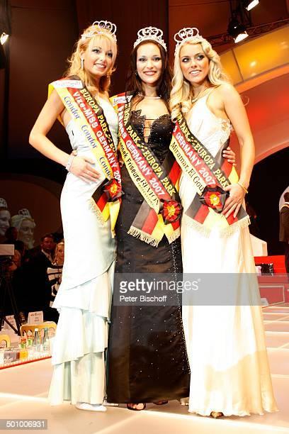 Nelly Marie Bojahr 2 Platz Juliane Brändle 3 Platz Katie Steiner Wahl zur Miss Germany 2007 EuropaPark Rust bei Freiburg BadenWürttemberg Deutschland...
