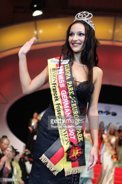 Nelly Marie Bojahr from Kleinmachnow poses during the beachwear round during the Miss Germany 2007 election at the Europapark February 10, 2007 in...