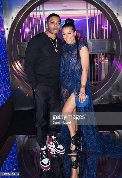 Nelly poses with Shantel Jackson at the RalphRusso Haute Couture After Party Spring Summer 2017 show as part of Paris Fashion Week on January 23 2017...