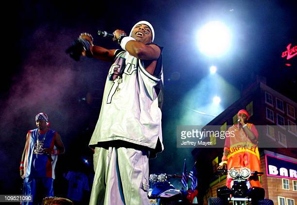 """Nelly & St. Lunatics during MTV's """"TRL"""" Tours Southern California - September 2, 2001 at Verizon Wireless Amphitheater in Irvine, California, United..."""