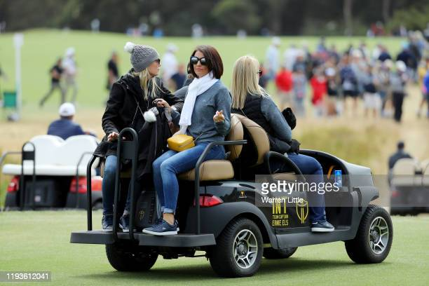 NelMare Oosthuizen wife of Louis Oosthuizen of South Africa and the International team rides in a cart during Friday foursome matches on day two of...
