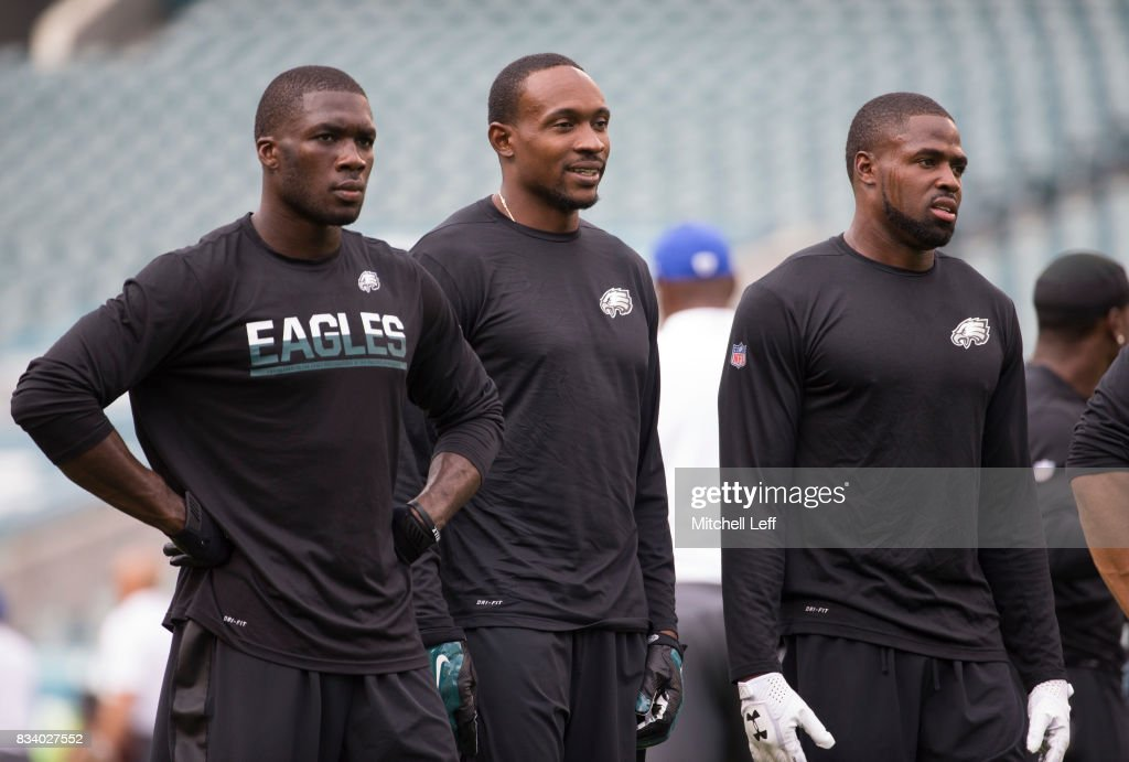 Nelson Agholor #13, Alshon Jeffery #17, and Torrey Smith #82 of the Philadelphia Eagles look on prior to the preseason game against the Buffalo Bills at Lincoln Financial Field on August 17, 2017 in Philadelphia, Pennsylvania.