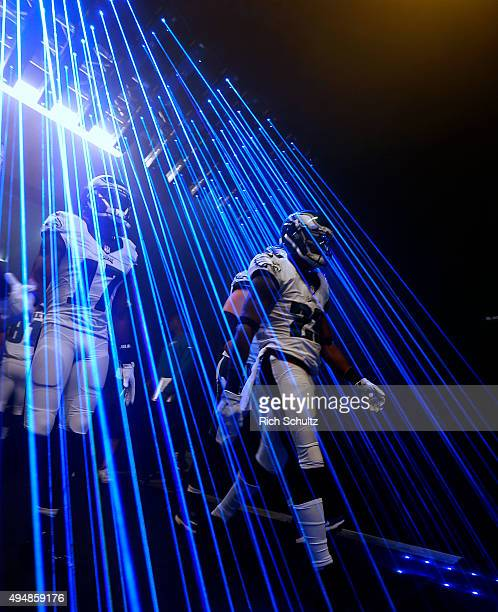 Nelson Agholor and Nolan Carroll of the Philadelphia Eagles walk out of the tunnel before a football game against the Dallas Cowboys at Lincoln...