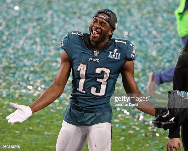 Nelson Agholor of the Philadelphia Eagles celebrates a win over the New England Patroits after Super Bowl Lll at US Bank Stadium on February 4 2018...