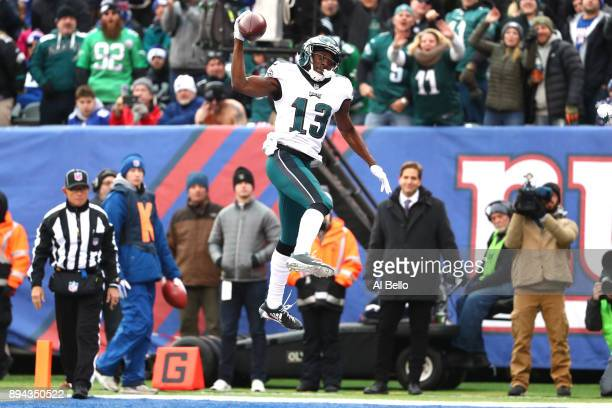 Nelson Agholor of the Philadelphia Eagles celebrates after scoring a 10 yard touchdown against the New York Giants during the third quarter in the...