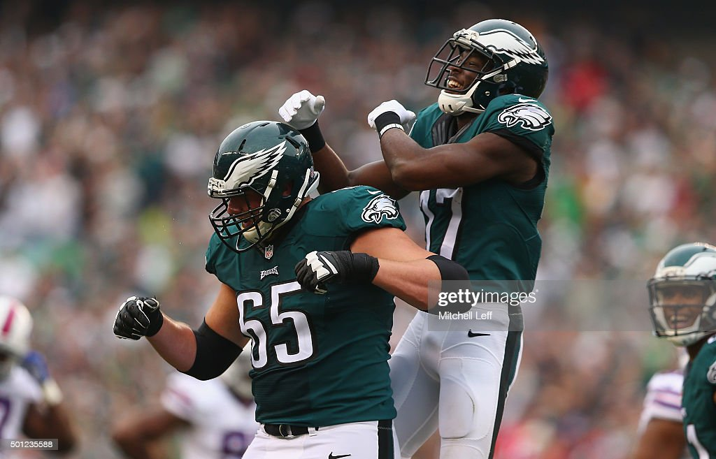 Nelson Agholor #17 of the Philadelphia Eagles celebrates his touchdown with Jason Kelce #62 against the Buffalo Bills during the second quarter at Lincoln Financial Field on December 13, 2015 in Philadelphia, Pennsylvania.