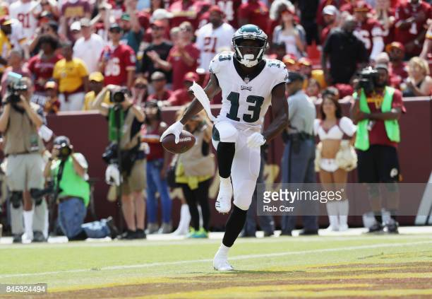 a09042c5444 Nelson Agholor of the Philadelphia Eagles celebrates in the endzone after  scoring in the first quarter