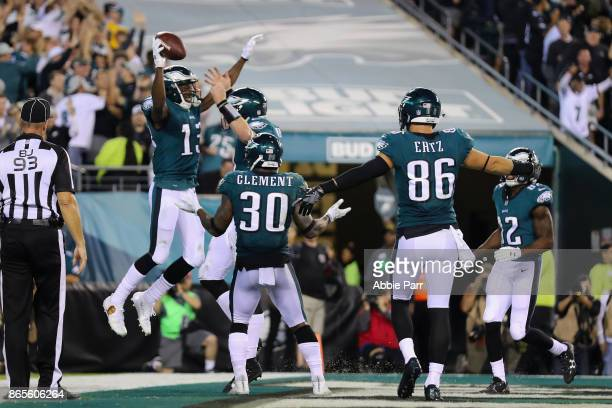 Nelson Agholor of the Philadelphia Eagles celebrates scoring a touchdown against the Washington Redskins during the fourth quarter of the game at...